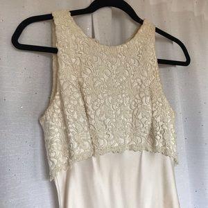 Carmen Marc Valvo White Satin Dress